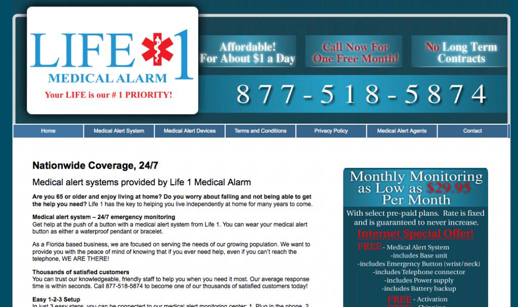 Life 1 Medical Alarm old website