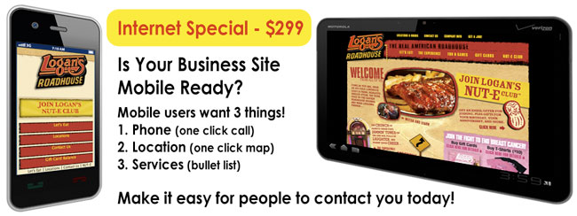 Internet Special! Mobile Website For Only $299.00