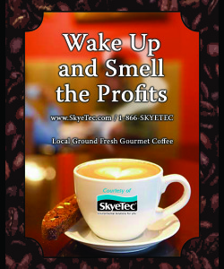 Coffee Label for trade show promotional give away.